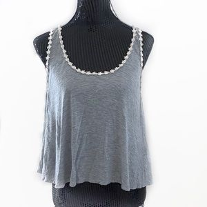 Elodie Gray Cropped Flower Trimmed Tank Top